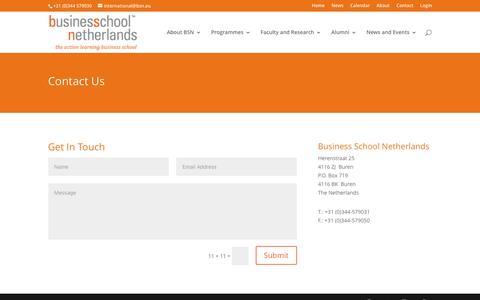Screenshot of Contact Page bsn.eu - Contact - BSN - Business School Netherlands - captured Dec. 25, 2016