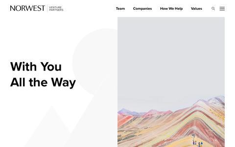 Screenshot of Home Page nvp.com - Home - Norwest Venture Partners - captured Sept. 20, 2019