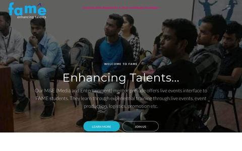 Screenshot of About Page fame.ac.in - FAME :: Enhancing Talents - About Us | The best event management institution - captured Feb. 23, 2018