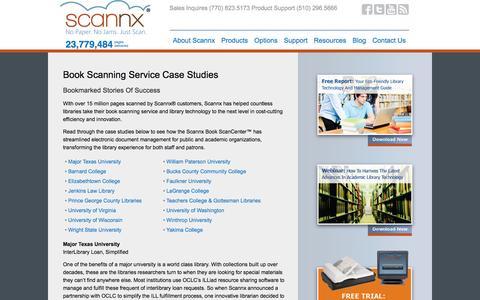 Screenshot of Case Studies Page scannx.com - Book Scanning Service: Case Studies That Tell Stories Of Success - captured Sept. 17, 2014