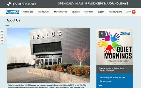 Screenshot of About Page tellusmuseum.org - About Us - Tellus Science Museum in Cartersville, GA - captured Oct. 18, 2018