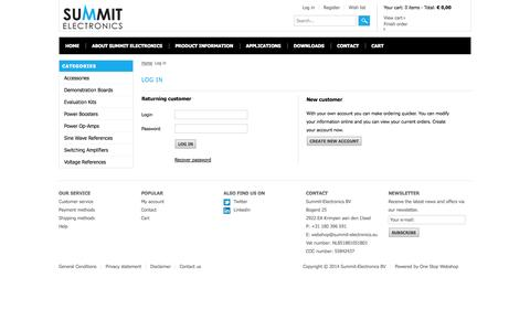 Screenshot of Login Page summit-electronics.eu - Webshop Summit-Electronics  Log in - captured Oct. 3, 2014
