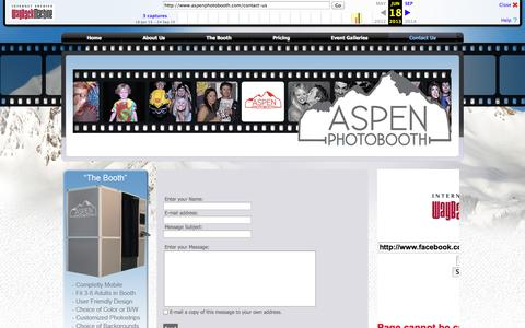 Screenshot of Contact Page archive.org - Aspen Photo Booth - captured Oct. 29, 2014