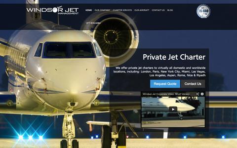 Screenshot of Home Page windsorjet.com - Windsor Jet Management | Jet Charter Flights: Executive & Private - captured Oct. 7, 2014
