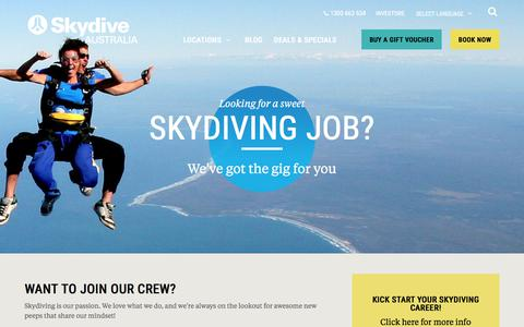 Screenshot of Jobs Page skydive.com.au - Careers » Skydive - captured April 27, 2018