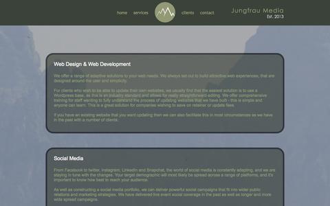 Screenshot of Services Page jungfraumedia.com - Jungfrau Media | Services - captured Sept. 30, 2014