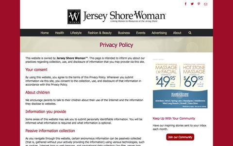 Screenshot of Privacy Page jswoman.com - Privacy Policy - Jersey Shore Woman - captured Feb. 11, 2016