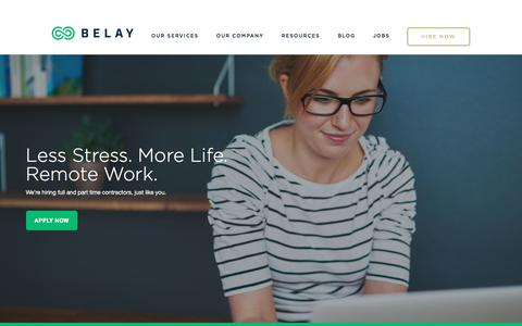 Screenshot of Jobs Page belaysolutions.com - Work With Us | BELAY - captured May 24, 2018