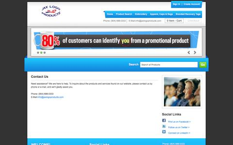 Screenshot of Contact Page jaxlogoproducts.com - Jax Logo Products - Contact Us - captured Dec. 5, 2015