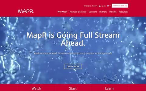 Screenshot of Home Page mapr.com - MapR: Converged Data Platform - captured Jan. 17, 2016