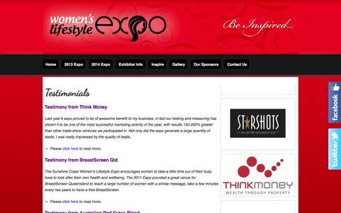 Screenshot of Testimonials Page womenslifestyleexpo.com.au - Testimonials :: Womens Lifestyle Expo - captured Sept. 30, 2014
