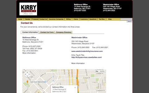 Screenshot of Contact Page Locations Page kirbyinsurance.com - Contact Kirby Insurance Agency, Inc. - (410) 837-2320 Kirby Insurance Agency, Inc. - Baltimore, Maryland 21201 - captured Oct. 23, 2014