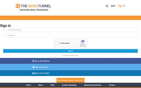 Screenshot of Login Page thenewsfunnel.com - Sign In | The News Funnel - captured April 8, 2019