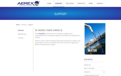 Screenshot of Support Page aerexglobal.com - Support - captured Feb. 5, 2016