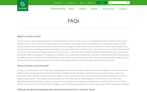 Screenshot of FAQ Page cumulusnetworks.com - Cumulus Networks   FAQs - captured July 21, 2014