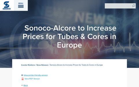Screenshot of Press Page sonoco.com - Sonoco-Alcore to Increase Prices for Tubes & Cores in Europe | Sonoco - captured Nov. 5, 2019