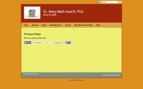 Screenshot of Privacy Page writeonmba.com - Privacy Policy » Write On MBA - captured Feb. 4, 2016