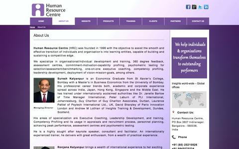 Screenshot of About Page hrc.co.in - Executive Coaching India | Performance Management | Suresh Kalyanpur | HRC - captured Oct. 3, 2014