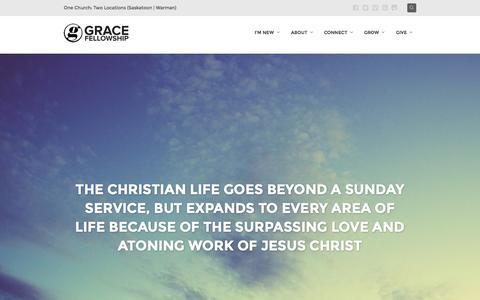 Screenshot of Home Page gracesask.com - Grace Fellowship | Saskatoon & Warman ChurchGrace Fellowship | Saskatoon & Warman Church - captured Sept. 18, 2015