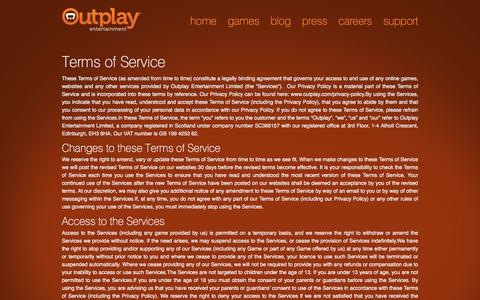 Screenshot of Terms Page outplay.com - Terms of Service - Outplay Entertainment - captured Nov. 5, 2016