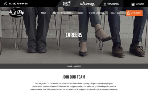 Screenshot of Jobs Page sarjeants.com - Careers in Simcoe County and Northern Ontario | The Sarjeant Co. Ltd. - captured Oct. 20, 2018