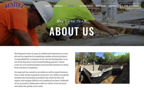 Screenshot of About Page benitezconcreteconstruction.com - Benitez Concrete Construction - San Jose - 408-271-9826 - captured Nov. 6, 2018