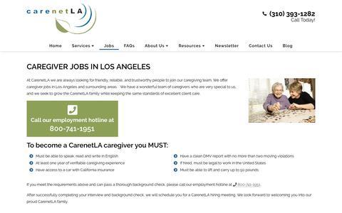 Screenshot of Jobs Page carenetla.com - Los Angeles Caregiver Jobs   Become a CareNetLA Caregiver - captured July 14, 2018