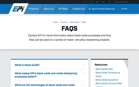 Screenshot of FAQ Page epi.com - Black Oxide Processes – Frequently Asked Questions – EPi - captured July 9, 2017