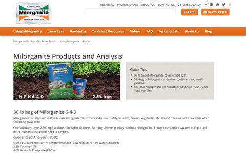 Screenshot of Products Page milorganite.com - Products | Miloganite - captured Oct. 20, 2018