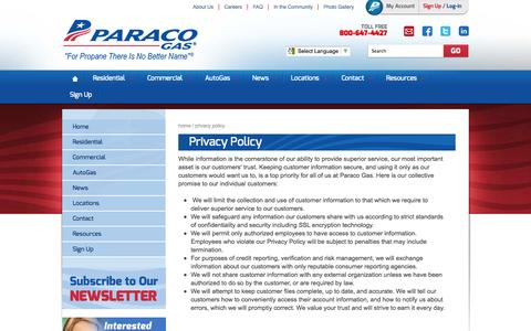 Screenshot of Privacy Page paracogas.com - Privacy Policy - captured Oct. 10, 2014