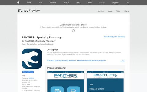 Screenshot of iOS App Page apple.com - PANTHERx Specialty Pharmacy on the App Store on iTunes - captured Nov. 1, 2014
