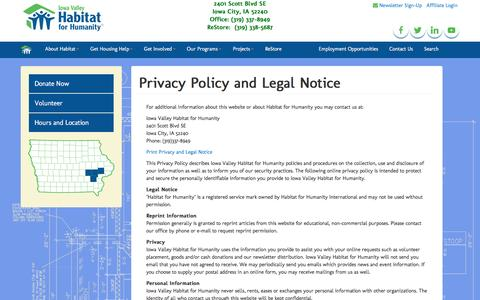 Screenshot of Terms Page iowavalleyhabitat.org - Privacy Policy and Legal Notice | Iowa Valley Habitat for Humanity - captured Feb. 11, 2016