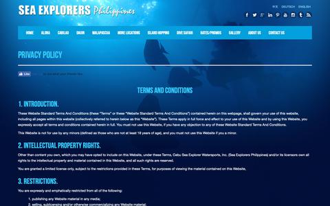 Screenshot of Privacy Page sea-explorers.com - Privacy Policy | Terms and Conditions - Sea Explorers Philippines - captured Nov. 8, 2018