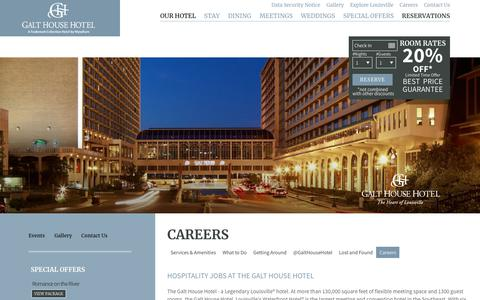 Screenshot of Jobs Page galthouse.com - The Galt House Hotel | Downtown Louisville Hotels - captured Sept. 20, 2018