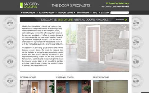 Screenshot of Home Page modern-doors.co.uk - Modern wooden doors - internal, external, bespoke - captured Feb. 22, 2016