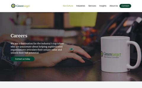 Screenshot of Jobs Page greentarget.com - Careers - Greentarget - captured July 12, 2019