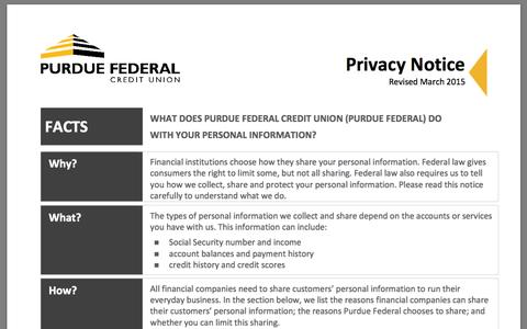 Screenshot of Privacy Page purduefed.com captured Jan. 21, 2016