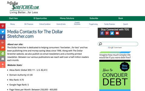 Screenshot of Press Page stretcher.com - The Dollar Stretcher - Media Contact - captured Nov. 9, 2018