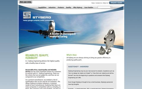 Screenshot of Home Page styberg.com - Metal Fabrication & Contract Manufacturing Services | EC Styberg - captured Oct. 1, 2014