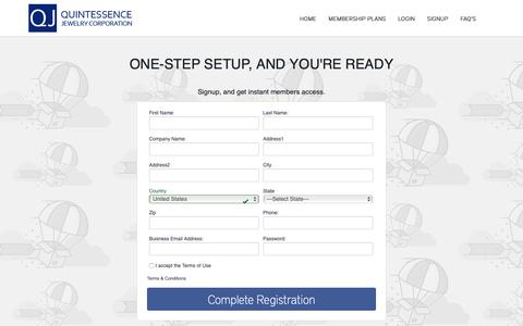 Screenshot of Signup Page quintessencejewelry.com - Quintessence Jewelry :: Quintessencejewelry.com Dropship : One-step setup. Register now ! - captured Sept. 30, 2018