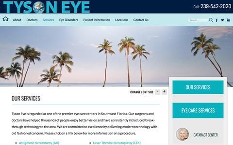 Screenshot of Services Page capecoraleyecenter.com - Eye Care Services Cape Coral | Cataract Surgery Naples - captured May 13, 2017