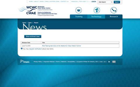 Screenshot of Press Page wcwc.ca - Recent - captured Dec. 3, 2016