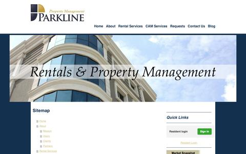 Screenshot of Site Map Page parklinemanagement.net - Property Management in Naples FL- Parkline Management - captured July 11, 2016