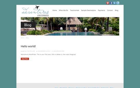 Screenshot of Blog adventuresuncorked.com - Blog - captured Sept. 30, 2014