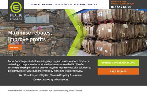 Screenshot of Home Page entirerecycling.co.uk - Commercial Waste Recycling Company | Recycling Company UK - captured Sept. 26, 2018