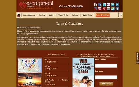 Screenshot of Terms Page escarpment.com.au - Terms & Conditions - captured Sept. 22, 2014