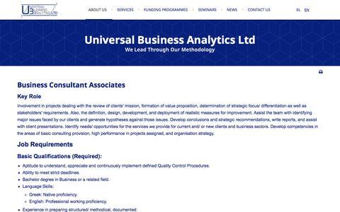 Screenshot of Jobs Page ubaconsultants.com - Careers - captured Nov. 29, 2016