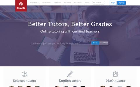Screenshot of Home Page skooli.com - Online Tutoring   Find a tutor   Online tutoring services from Skooli - captured Oct. 23, 2018
