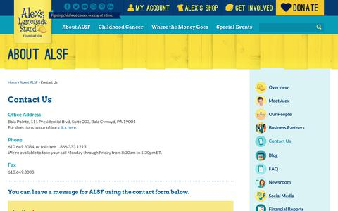Screenshot of Contact Page alexslemonade.org - Contact Us | Alex's Lemonade Stand Foundation for Childhood Cancer - captured May 18, 2019