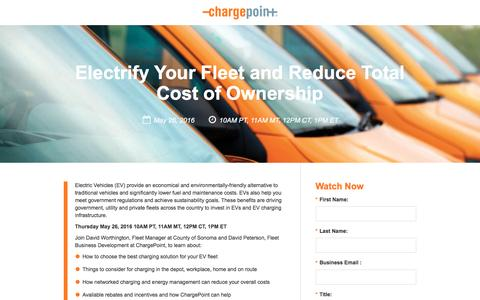 Screenshot of Landing Page chargepoint.com - Electrify Your Fleet with Major Rebates in Southern California - A Live Web Event - captured Aug. 18, 2016
